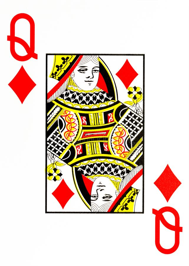 Large index playing card queen of diamonds. American deck vector illustration