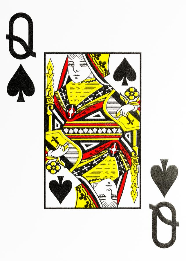 Large index playing card queen of spades royalty free stock photo