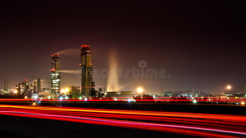 Large industrial plant at night stock photo