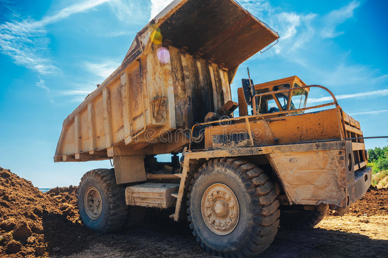 Large industrial quarry truck vehicle. Machine stock photos