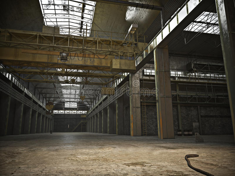 Large Interior framed grunge warehouse with an empty floor royalty free stock photo