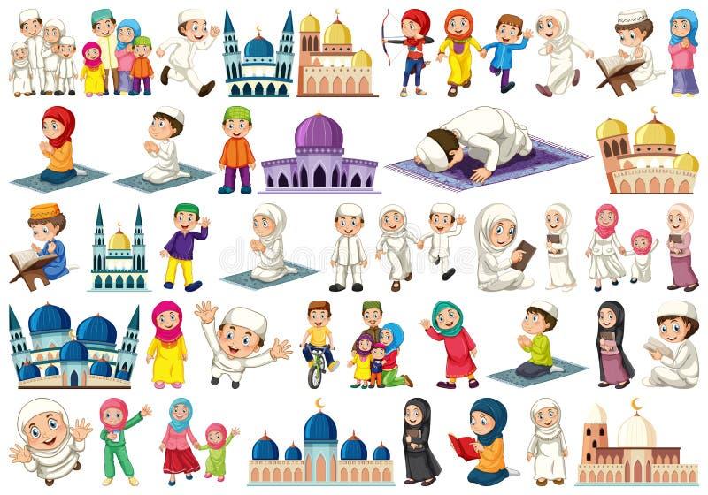 Large islamic themed set. Illustration royalty free illustration