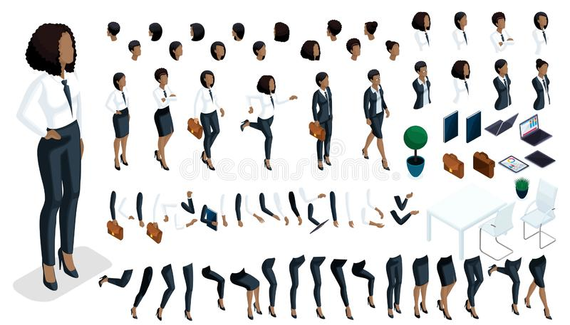Large isometric Set of hand gestures and legs of African American woman 3d business lady royalty free illustration