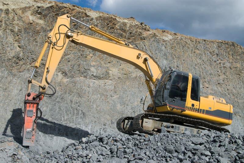Large Jackhammer Smashing Rocks Stock Photos