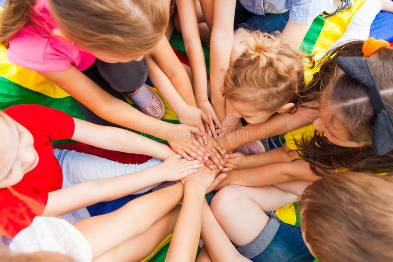 Large kids family together in a circle stock images