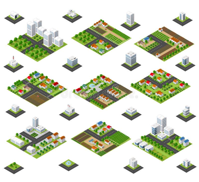 Large kit metropolis. A large kit of 3D metropolis of skyscrapers, houses, gardens and streets in a three-dimensional isometric view vector illustration