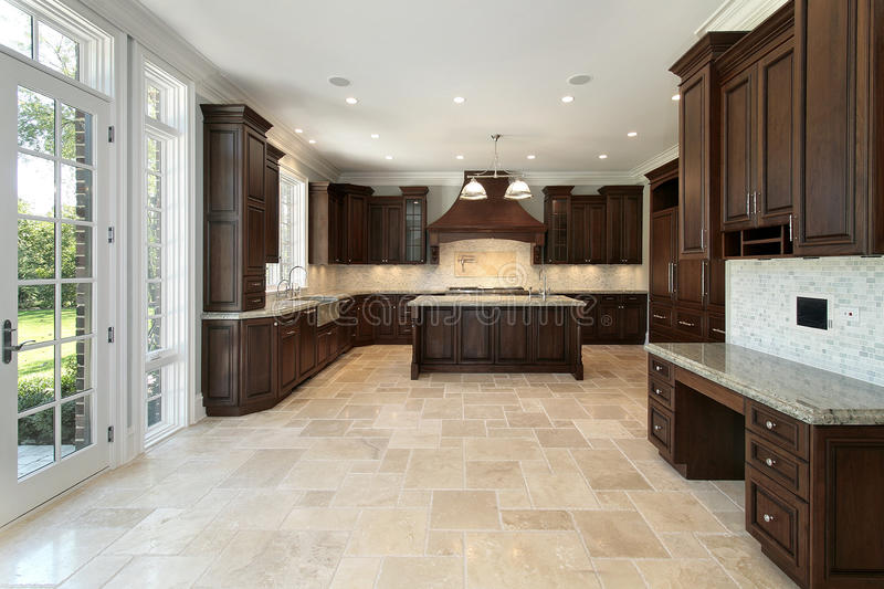 Large kitchen in new construction home stock photos