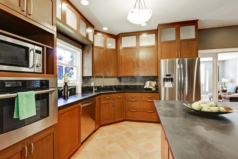 Large kitchen room interior with brown cabinets and steel appliances. Large kitchen room interior with brown cabinets and modern stainless steel appliances royalty free stock photo