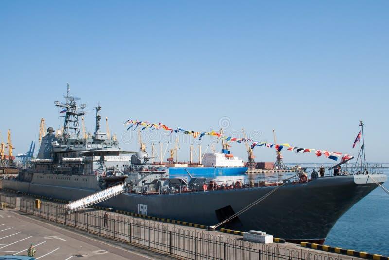 Large landing ship Caesar Kunikov (BR-64) royalty free stock photos
