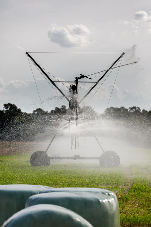 large lateral move irrigation system stock photo