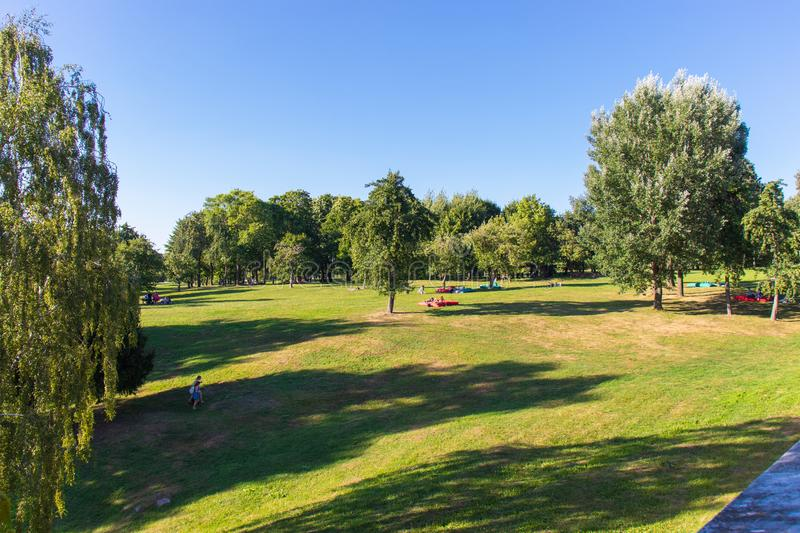 Large lawn in a holiday park for the family. Green and yellow lawn. Green trees in the park. Blue clear sky stock image