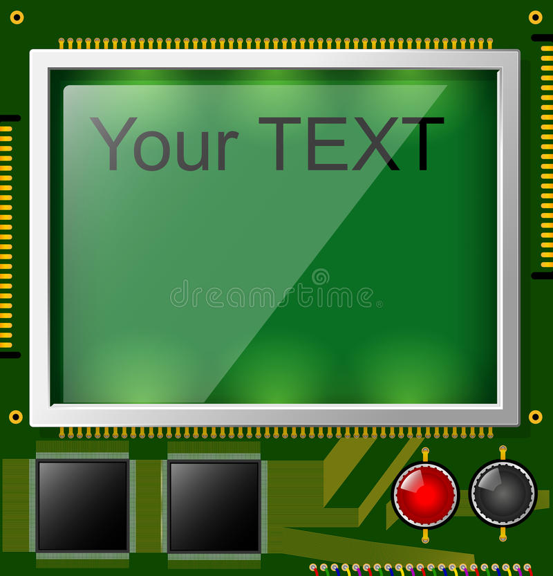 Large LCD display with space for text and backlight. A square printed circuit board is green. Electronic components. Large LCD display with space for text. A vector illustration
