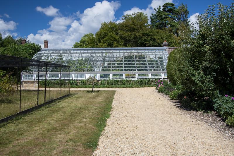Large lean-to greenhouse in an English country garden. View of specimum shrubs and plants being grown in a white glasshouse on a summers day stock photo