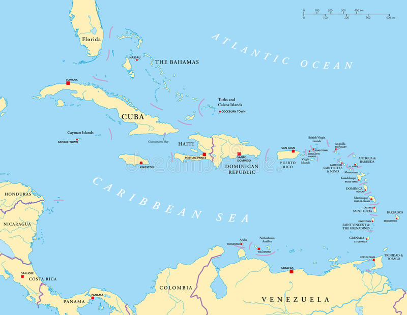 Large And Lesser Antilles Political Map stock illustration