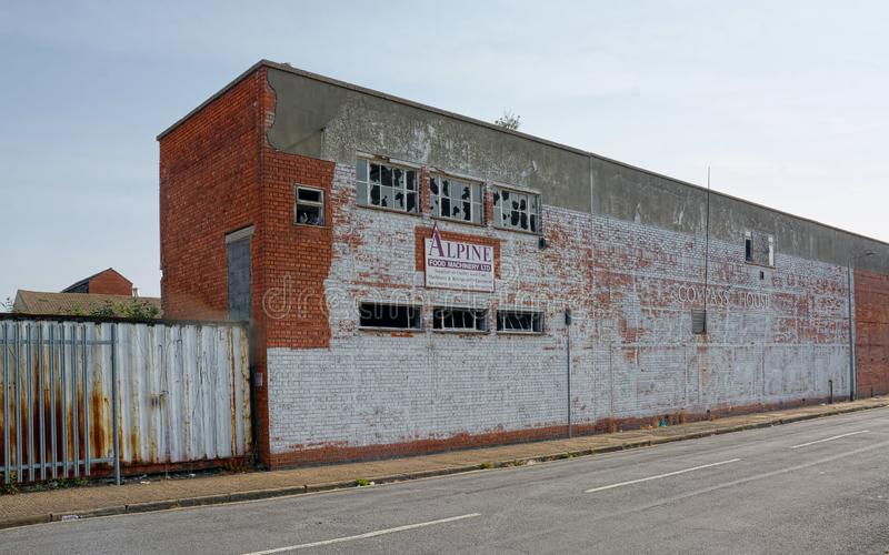 Abandoned, derelict industry unit royalty free stock photography