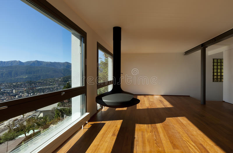 Large living room with panoramic view stock images