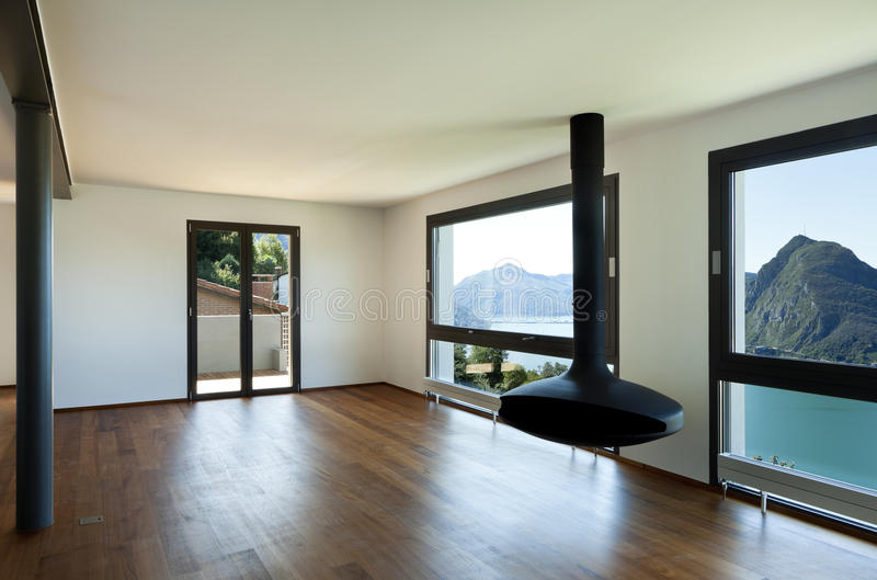 Large living room with panoramic view stock photos