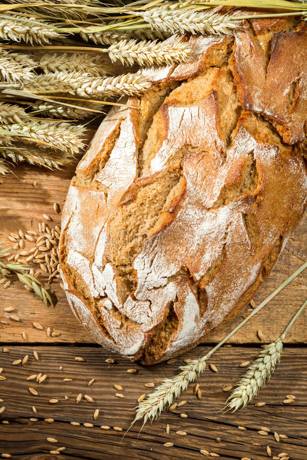 Large loaf of bread in a rural bakery royalty free stock photos