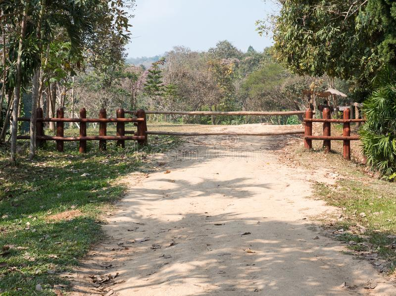Large log fence. royalty free stock photography