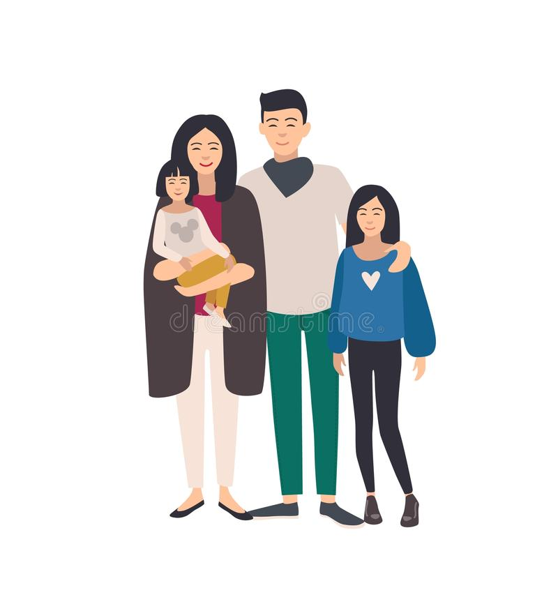 Large loving asian family. Father, mother holding toddler and teenage daughter standing together. Beautiful flat cartoon. Characters isolated on white royalty free illustration