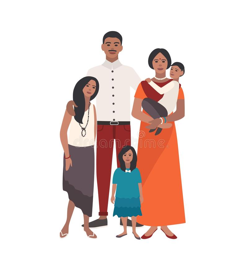 Large loving Indian family. Father, mother holding toddler son and two daughters standing together. Gorgeous flat royalty free illustration