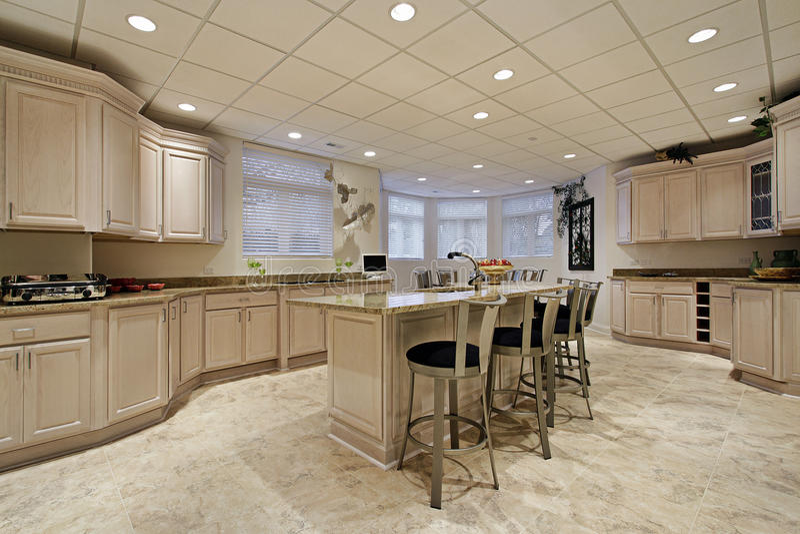 Large lower level kitchen royalty free stock photography