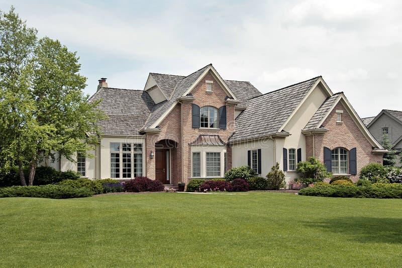 Large luxury brick home royalty free stock photos