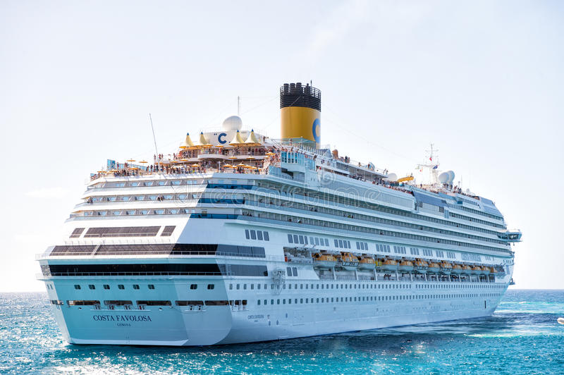 Large luxury cruise ship liner at sea royalty free stock image