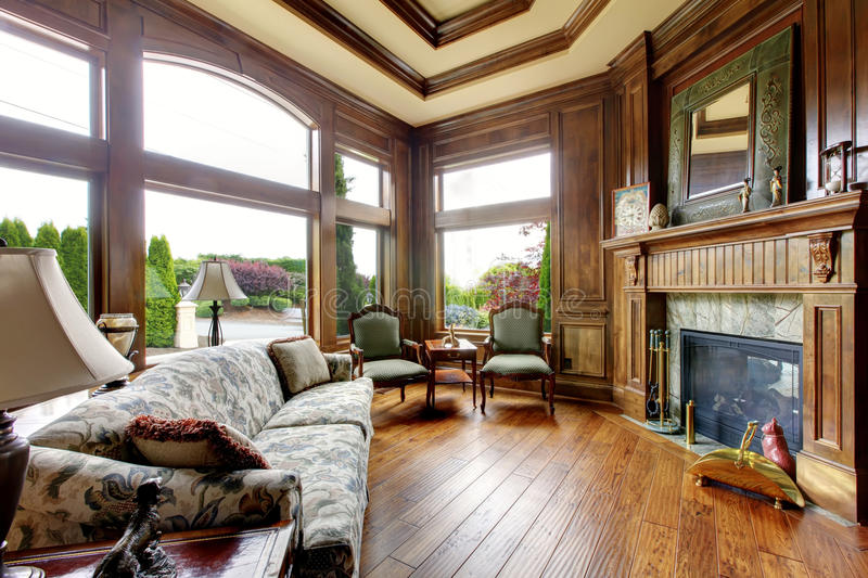 Large luxury living room with big windows. royalty free stock image