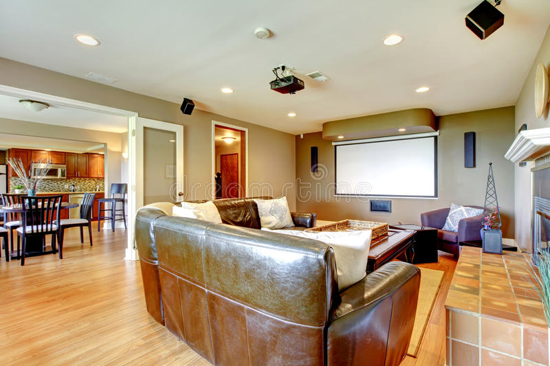 Large Luxury Living Room Home Theater. Stock Photo - Image of floor ...