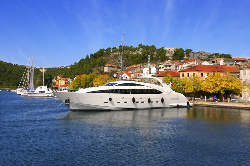 Large luxury yacht royalty free stock images