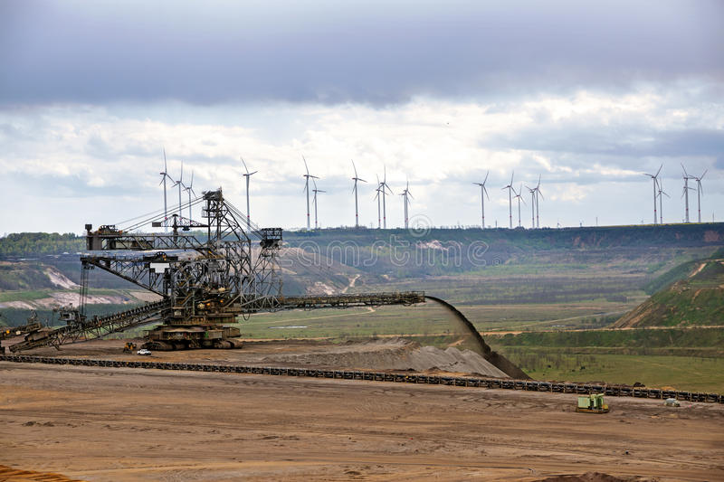 Large machine at the lignite (brown coal) strip mining Garzweile stock images