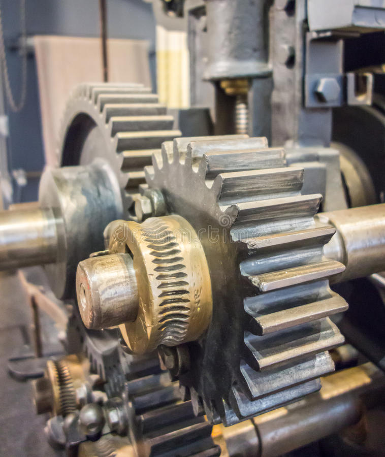 Large machinery gears stock photos
