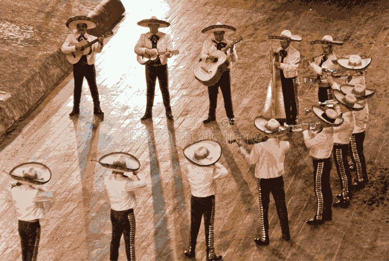 Large mariachi, mexico. Mexican mariachi musician playing a guitar in Mexico. Illustration of a large band in Mexico royalty free illustration