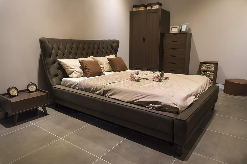 3d bed room interior stock photo