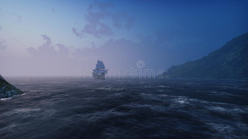 A large medieval ship in the sea in the fog floats to a desert rocky island. 3D Rendering. A large medieval ship in the sea in the fog floats to a desert rocky stock photos