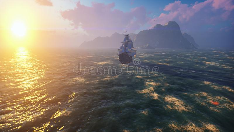 A large medieval ship at sea at sunrise. An ancient medieval ship sails to a deserted rocky island. 3D Rendering. A large medieval ship at sea at sunrise. An royalty free stock image