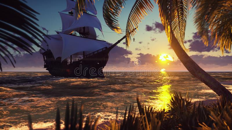 A large medieval ship at sea at sunset. An ancient medieval ship moored near a desert tropical island. 3D Rendering. A large medieval ship at sea at sunset. An stock image