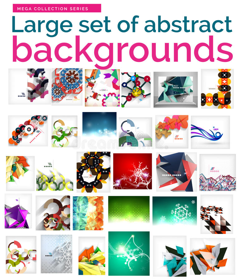 Large mega set of abstract backgrounds, sale stock illustration