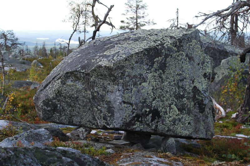 Large megalithic seid stone boulder in the nature reserve on mountain Vottovaara, Karelia, Russia. Close up. Natural background view. Lapps Sami heathen Shaman royalty free stock image