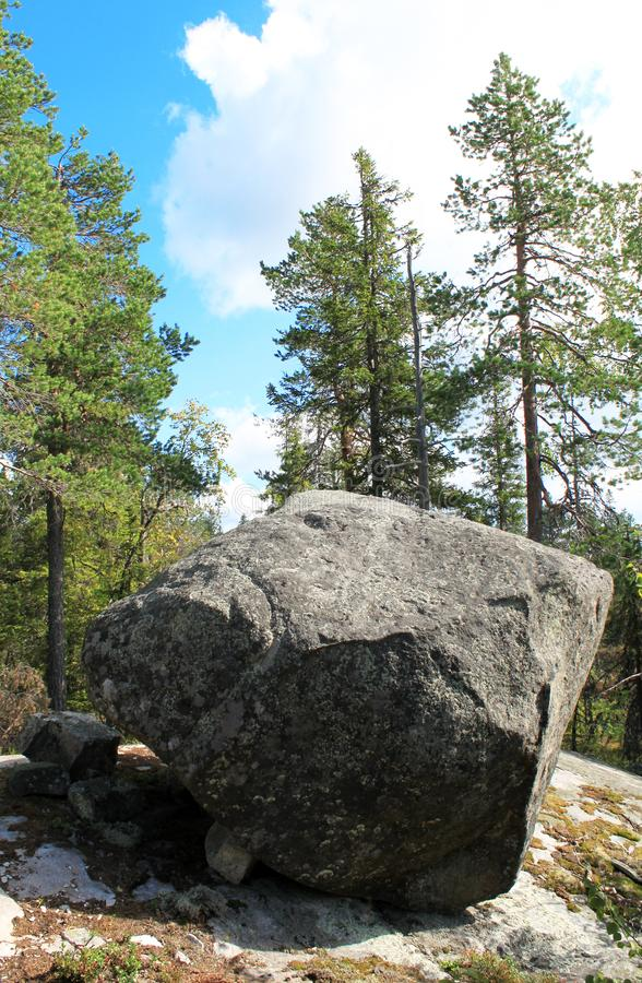 Large megalithic seid stone boulder in the nature reserve on mountain Vottovaara, Karelia, Russia. Close up. Natural background view. Lapps Sami heathen Shaman royalty free stock photos