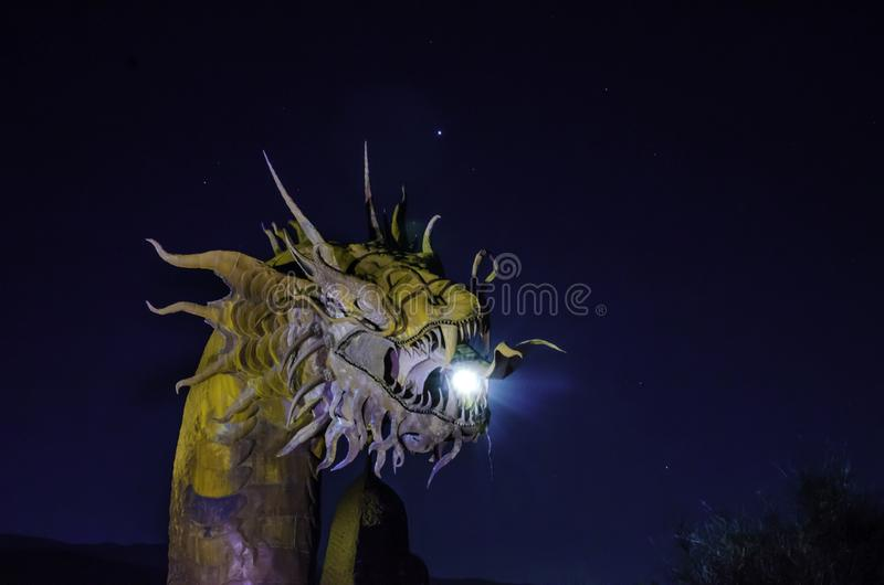 Large metal sculpture of a dragon in Anza Borrego stock image
