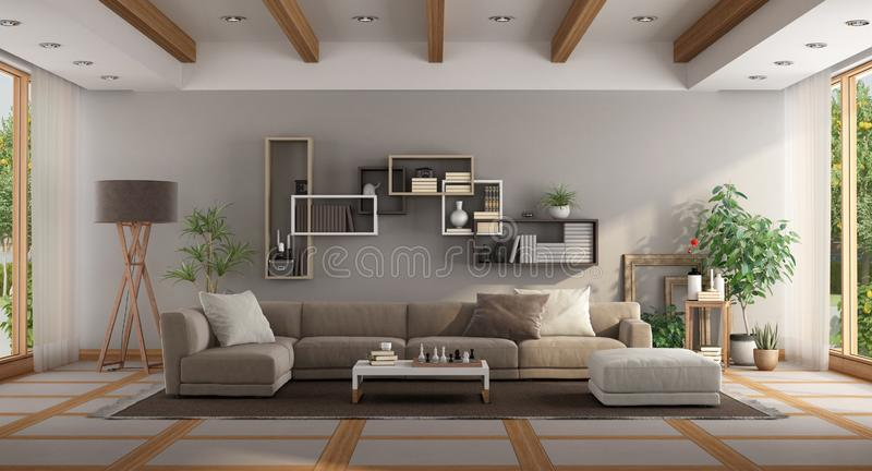 Large minimalist living room stock illustration