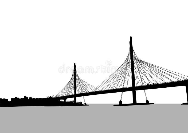 Large modern bridge vector illustration