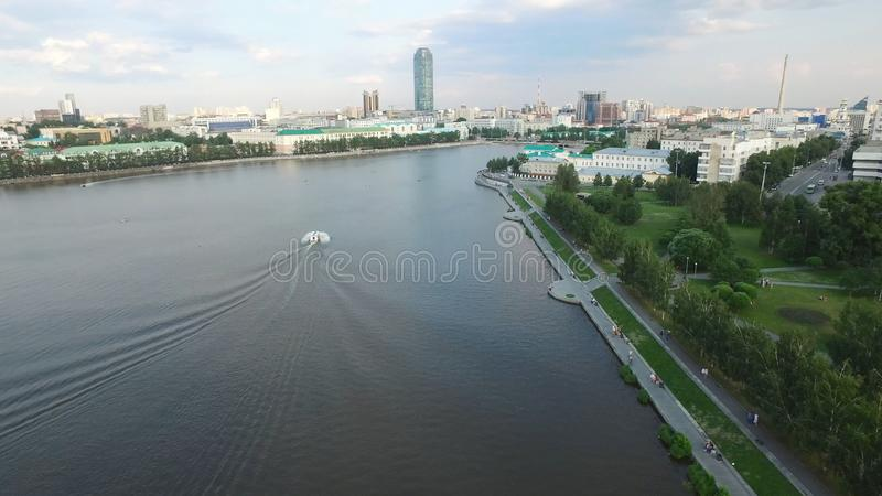 Large modern city center viewed from above. Beautiful of Yekaterinburg aerial view city with river, Russia stock images