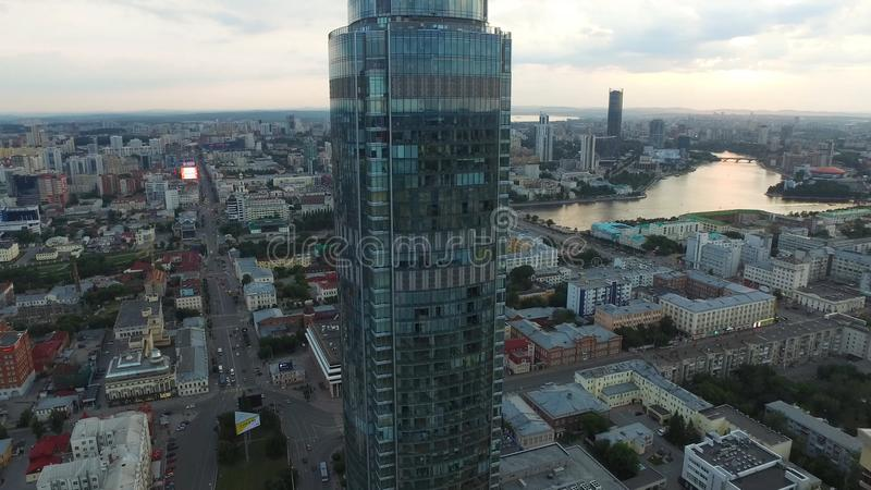Large modern city center viewed from above. Beautiful of Yekaterinburg aerial view city with river, Russia royalty free stock images