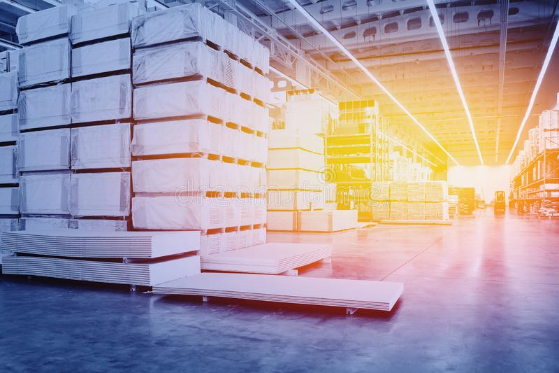 Large modern factory with box ware house. Warehouse interior. Large modern factory with box ware house stock photo
