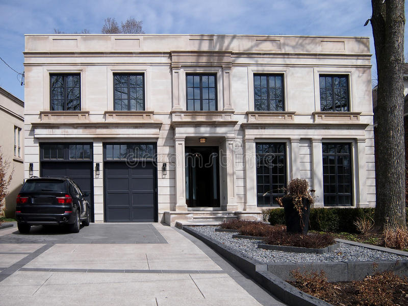 Large modern house and driveway stock photos