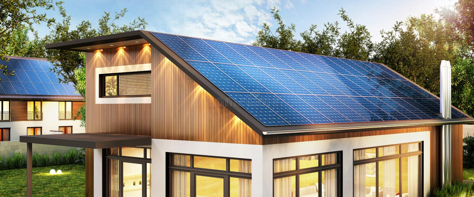 Modern house with solar panels on the roof. Large modern house with solar panels on the roof royalty free illustration