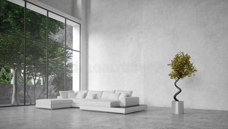 Large modern living room overlooking trees royalty free illustration